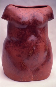 Big Red Torso, 1995. Red clay, terra sigalatta, sprayed with colemonite, H- 59cm, slab built, formed from inside, private collection . Photo Terry K Yip