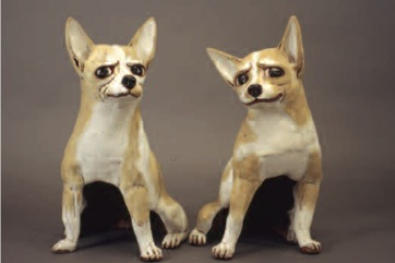 Grande Chihuahuas, 2002. Red clay, cone 1, coloured slips, slab built, formed from inside, Pair each, H - 50 cm . Published , 2007 LARK 500 Animals , private collection Photo Kenji Nagai