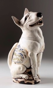You Sly Dog, 2013. White midrange clay, H –56cm, slips, decals, slab built, , modeled Exhibited, One to Many, Burnaby Arts Council, 2013, Ceramics on the Edge, 2013. Private Collection. Photo Kenji Nagai