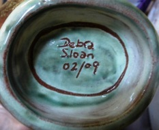 Debra Sloan 02/09, coloured glaze incised