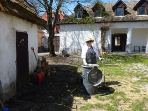 Debra Sloan putting in her dues doing yeoman duty at the ICS, Hungary.
