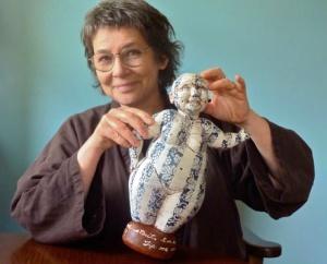 Debra Sloan with her work