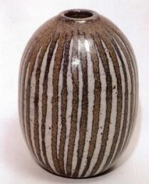Walter Dexter . Vase. Early to mid 1950s. Stoneware, thrown, 12mi. #2 glaze, Cochrane, with cobalt . cone 9. 15 1/2 cm h x 11cm d