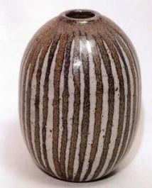 Walter Dexter . Vase. stoneware, thrown, 12mi. #2 glaze, Cochrane, with cobalt . cone 9. 15 1/2 cm h x 11cm d