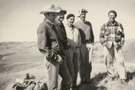 eft to right: Walter Drohan, W. Robert Gibson, Rolf Ungstad, Wlater Dexter, Luke Lindoe. Probably 1953-54.