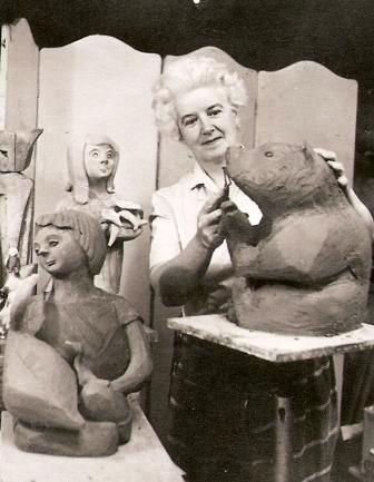 Jean Clarke Creating he Sculptures, nd. Nat Arch CGP C131971