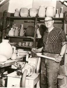 Stan Clarke in his studio, nd. Nat Arch CGP C131970