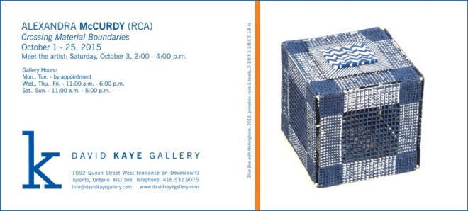 An invitation for you to Alexandra McCurdy's exhibition at the David Kaye Gallery