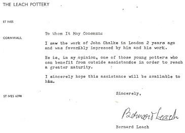 John Chalke's Bernard Leach recommendation.1968. Courtesy of the artist.