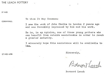 John Chalke's Bernard Leach recommendation.1968. Courtesy of the artist.