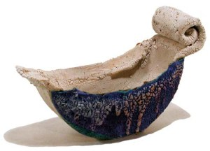 John Chalke . Mushroom Bowl, 1988. 15.2x25.2x12.0 cm, Stoneware, hand built, multiple glazes, ceramic transfer. Collection of the Burlington Art Centre. Donated By Colleen Dullian, 1997