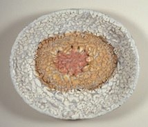 John Chalke. Grey, White, Orange, Red Oval Plate, 1999, Collection of the artist. Photo: John D. Dean
