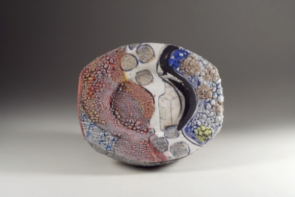 John Chalke. White River, 2012, ceramic wall piece, 21.6x26.7x6.6 cm. Exhibited at the Willock and Sax Gallery, Banff