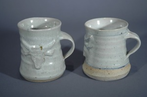 John Chalke. Alberta Beef Mugs, mid 1970s. Glazed stoneware, 10.2x8.9 cm. Exhibited in the Willock and Sax Gallery, Banff