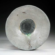 John Chalke.Wire Cut Plate, not dated. Soda 21cm., wood-fired stoneware. Carol and Richard Selfridge Collection