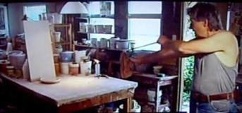 John Chalke's unconventional glazing style. using a sling shot to shoot a ball into a thick glaze. From the video The Searcher. 2011, from 291 Film Company. Cinematic Television. www.291filmcompany.ca, Searcher