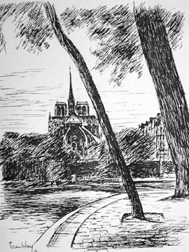 A-M Tremblay Notre Dame, Paris. 1964. Ink on paper.