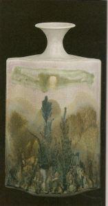 Robin Hopper Metchosin Mists, Landscape Bottle. 1978. Multiple glazes fired in reduction cone 9. 55.9 x 35.4 cm. Photo: Judi Dyelle.