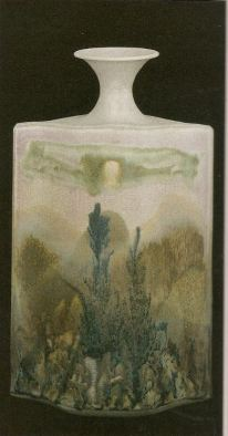 Robin Hopper Metchosin Mists, Landscape Bottle. 1978. Multiple glazes fired in reduction cone 9. 55.9 x 35.4 cm. Photo: Judi Dyelle.