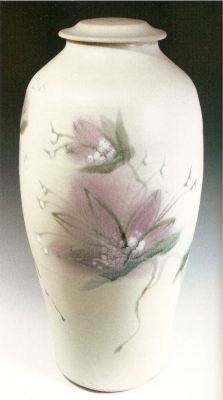Robin Hopper. Tall Lidded Jar. Clematis Series. 2005. Multiple glaze application with pigment brushwork and glaze trailing. Reduction fired cone 9. 63.5 x 25.4 cm. Photo: Judi Dyelle.