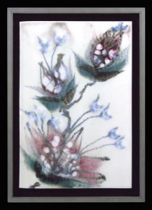 Robin Hopper. Clematis. Glaze painting, multiple glazes and black pigment brushwork. Reduction fired cone 9. Photo: Judi Dyelle.