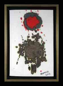Robin Hopper. Homage to Gottlieb. 2012. Multi fired mid range in Oxidation. Framed 22.9 x 32.4cm.