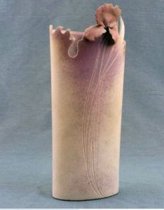 Harlan House. Iris Vase. circa 1978. Porcelain, slip cast additions, glaze, oxide. 44.6 x 17.4 x 9.3 cm. Fusion Collection