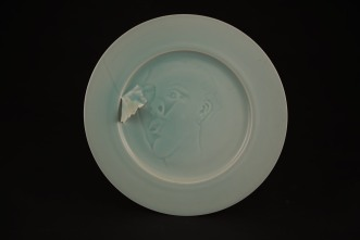 Harlan House. Not Quite Wall Plate 1999. Porcelain with RGM celadon glaze
