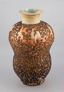 Harlan House. 2002. Untitled Marine Wudi glaze, Huluping, Double Gourd Vase. 45.5 x 27 x 27 cm. Clay. Collection of the Alberta Foundation for the Arts