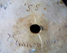 Kakinuma Signature. Incised T. Kakinuma '55