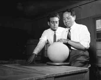 Santo Mignosa and Thomas Kakinuma at UBC, late '50s. Courtesy of Rare Books and Special Collections, University of British Columbia