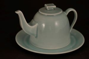 Harlan House. Celadon Teapot Butter Dish. 2013. 13 cm tall x 22 cm wide.