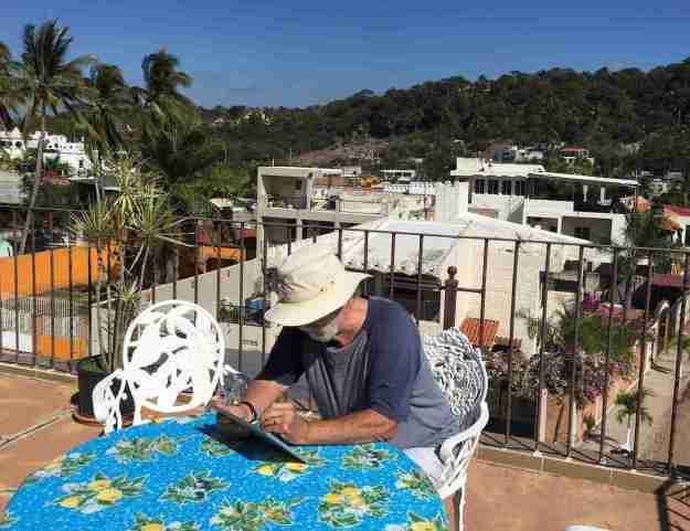 Yours truly, aka Barry Morrison, working on the website in Mexico. Such dedication!