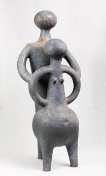 Jan Grove. Couple, nickel-grey glaze 1996. 72 x 29 cm. Private collection. Photo: Photo: Robert Matheson.