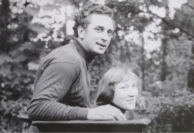 Jan and Helga Grove in their garden at Sooke Rd studio, c. 1970, photo by Karl Spreitz