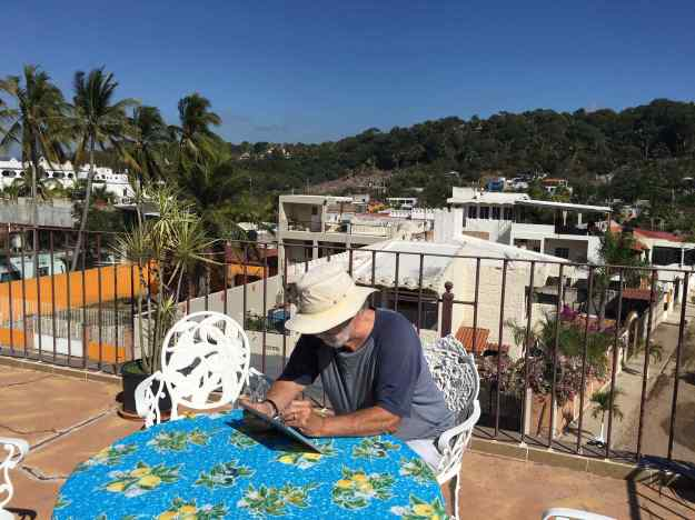 Yours truly working on the website in Mexico.