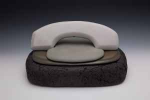 Les Manning, Land Line, 2011, course textured stoneware with granite and perlite, smooth textured stoneware and celadon glaze, 23 X 47 X 33 cm. Photo: Dianne and Cecil Finch.