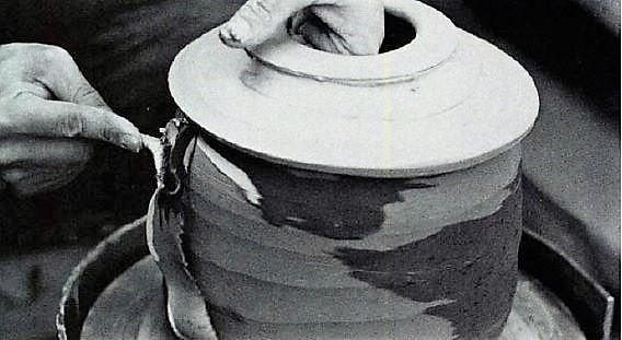 Les Manning. Wet trimming the surface clay exposes clay colour and pattern. Ceramics Monthly, June 1982.