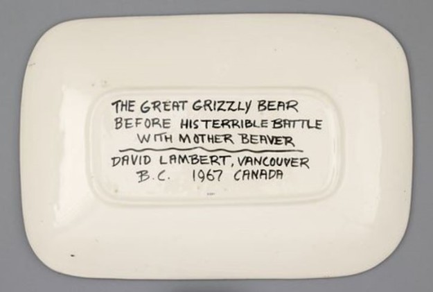 """David Lambert title, handwritten signature, and date, 1967, in the recessed foot of rectangular plate. The """"Vancouver B.C. Canada"""" part of the label on the right suggests this work was part of an international shipment of works."""