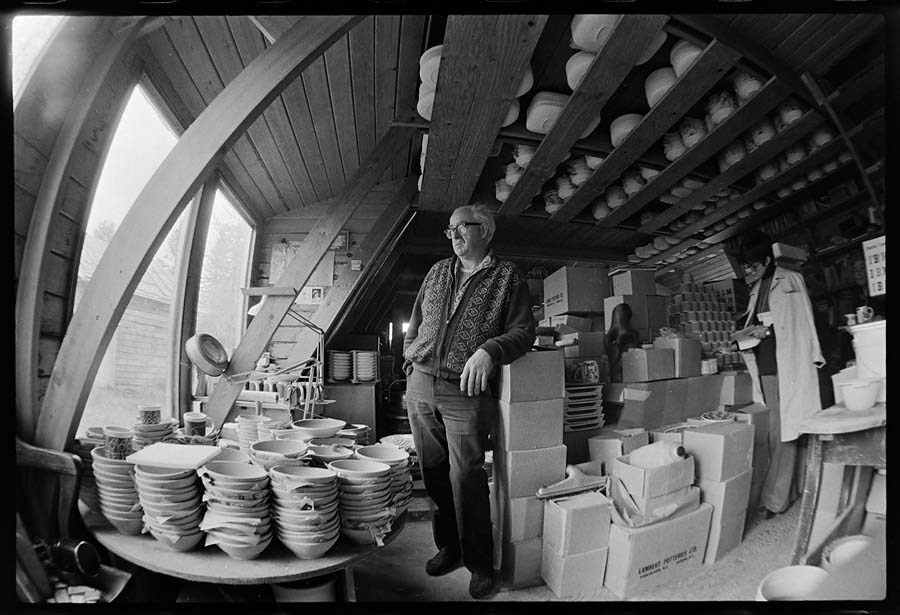 May 1st, 1974 -- David Lambert, potter, at his home in Ryder Lake near Sardis. Photo courtesy John Denniston, www.johndenniston.ca