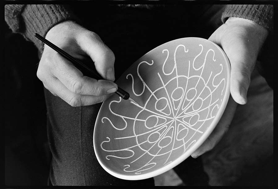 David Lambert, potter, at his home in Ryder Lake near Sardis working on a sgraffito bowl. May 1st, 1974. Photo courtesy John Denniston, www.johndenniston.ca