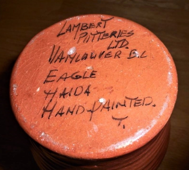 Lambert Potteries Ltd. label with handwritten title and designer's initial on a smooth base. Not dated,
