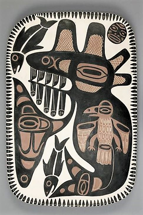 """David Lambert. """"Trickster Raven Inside The Great Killer Whale After His Escape From the Irate Husband"""" 1968. 3.8 x 28.9 x 42.8 cm. Collection: UBC Museum of Anthropology. Photo: Kyla Bailey."""
