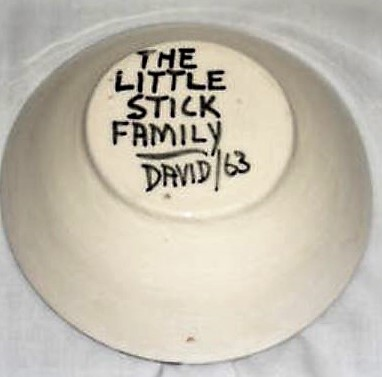 "David Lambert. ""The Little Stick Family David/63"" signature on raised foot."