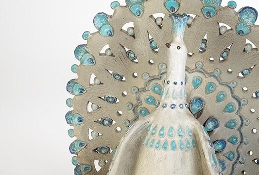 Thomas Kakinuma, Peacock (detail), glazed ceramic, 1963. Photograph by Ken Mayer Studios, 2018