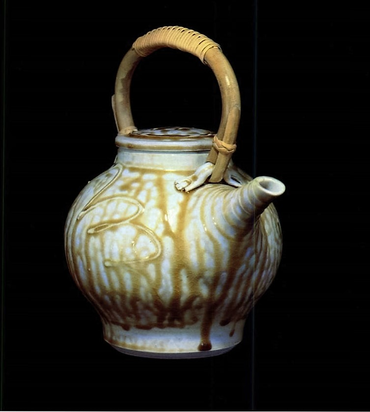 Barbara Tipton. 1980. Teapot. 22.9 cm high. (porcelain) Oxidation fired, ash glaze. Illustrated in Ceramics Monthly, September 1980.