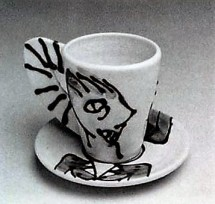 Barbara Tipton. Slip Trailed Cup and Saucer. c. 1984. (Porcelain, approx. 10 cm high) Reproduced in Ceramics Monthly, March 1984. Photo Don Bailey/ Ron Forth.