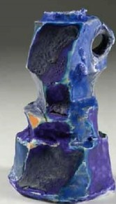 Barbara Tipton Carved Blue. 2011. Wheel thrown and altered clay and glaze. 10 cm tall.