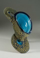 Barbara Tipton. Turquoise Cascade. 2013. Wheel and hand built, slips, glazes, multiple firings, 20 x 16 cm.