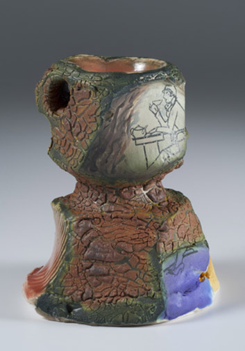 Barbara Tipton.  2015. Then and Now. Multifired, wheel and hand built, slips, layered glazes, multiple firings, decal, 10 cm.